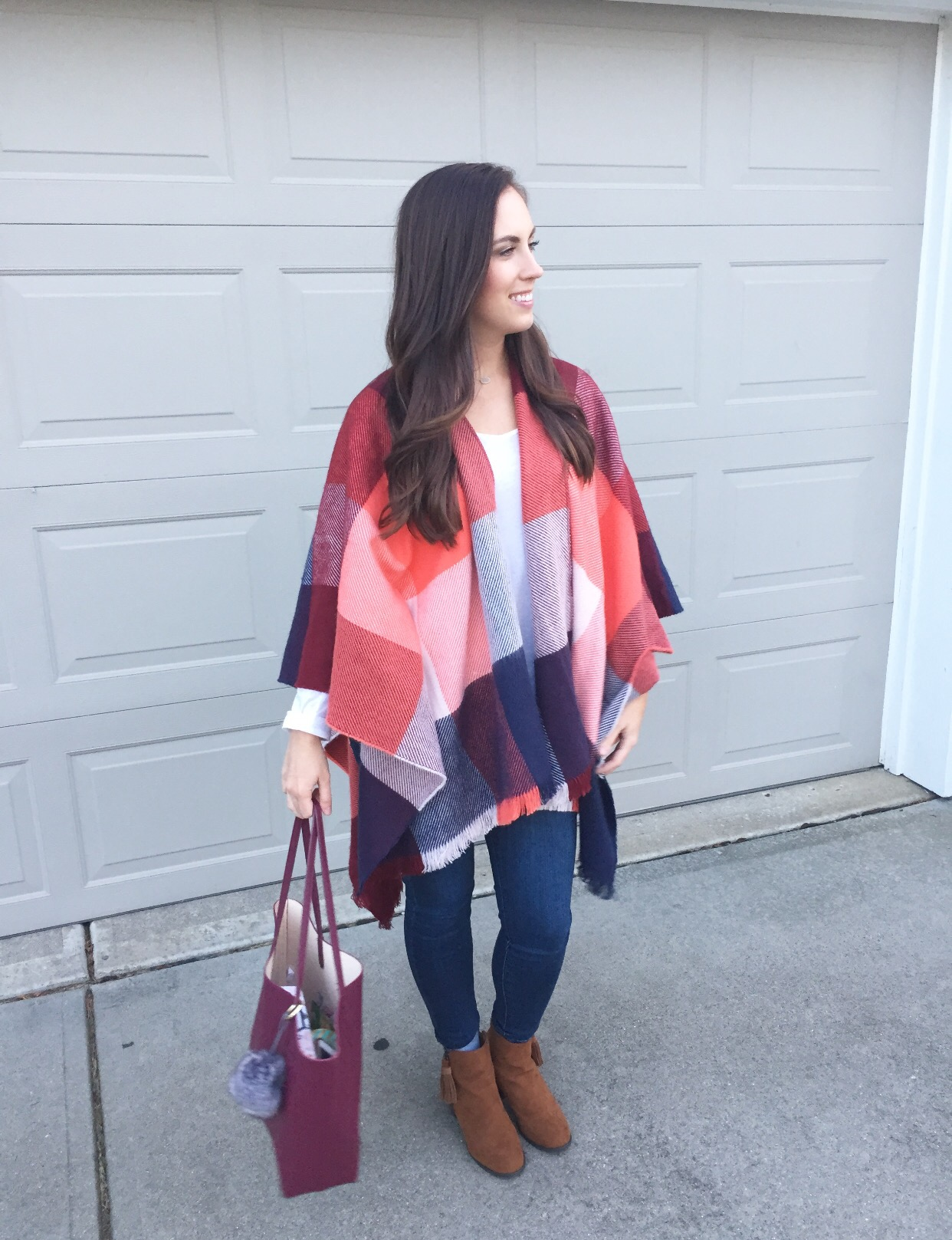 fashion blogger old navy fall plaid poncho styled with a smile